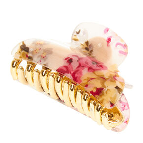 Gold & Pink Floral Hair Claw,