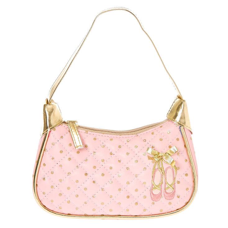 Kids Pink and Gold Ballet Shoes Zipper Handbag