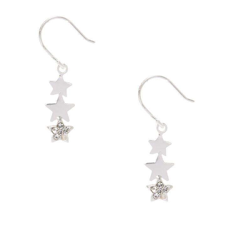 Sterling Silver Star Trio Drop Earrings