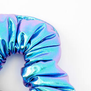 Medium Puffy Metallic Mermaid Hair Scrunchie - Lilac Purple,