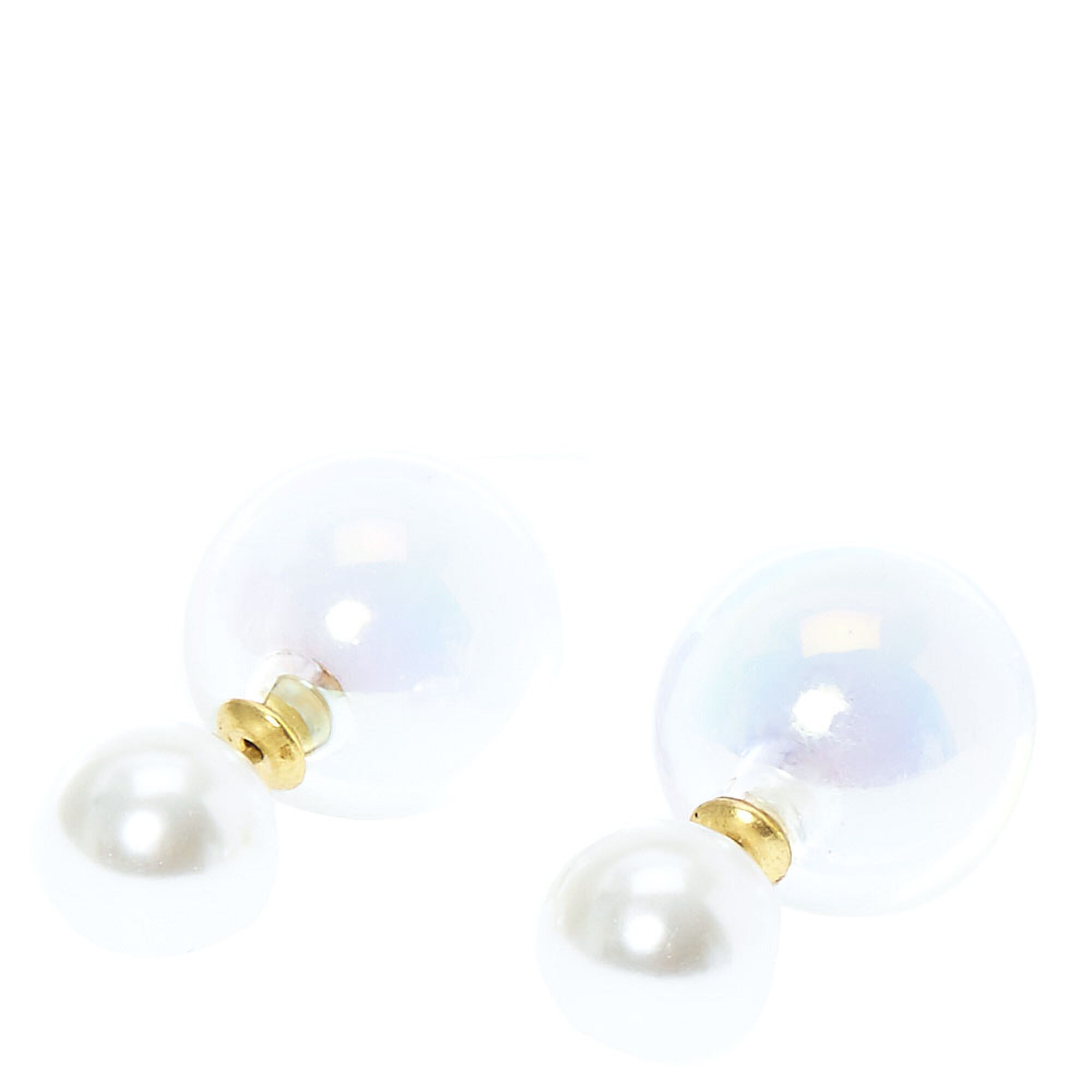 claire real and glass amp back clear s ball stud front earrings faux pearl