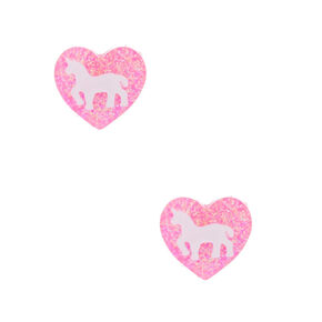 Unicorn Glitter Heart Stud Earrings - Pink,
