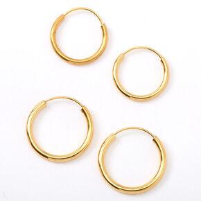 18ct Gold Plated Hoop Earrings - 2 Pack,