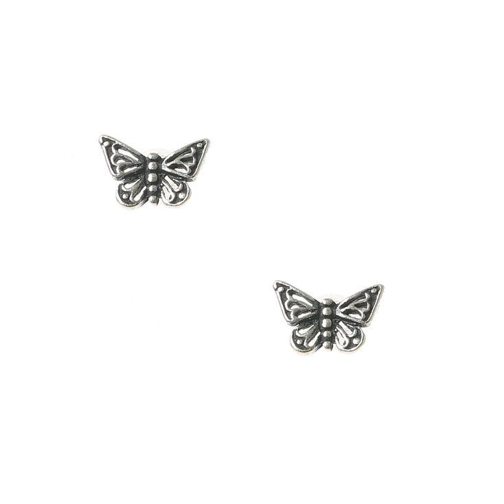 85dd187b6f4f3b Silver Butterfly Earrings - Best Image Of Butterfly Imagevet.Co