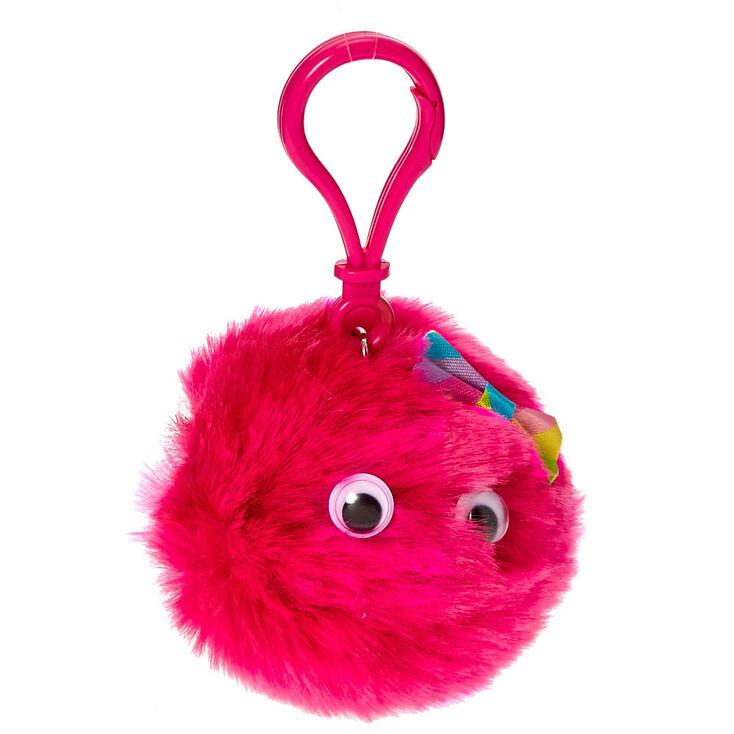 Hot Pink Googly Eyed Pom Keyring Clip Flavored Lip Gloss,