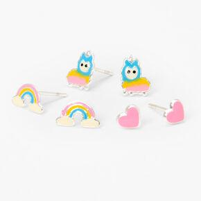 Sterling Silver Rainbow, Heart & Llama Stud Earrings - 3 Pack,