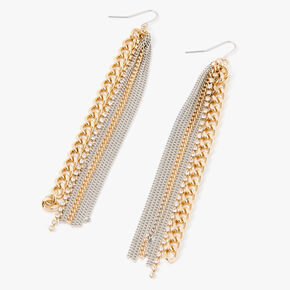 "Mixed Metal 4.5"" Tassel Chain Drop Earrings,"