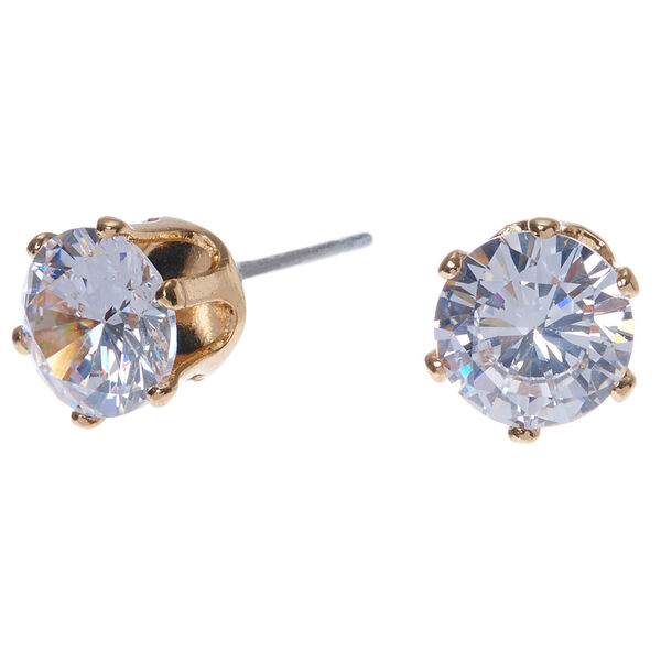 Claire's - cubic zirconia 7mm round stud earrings - 1