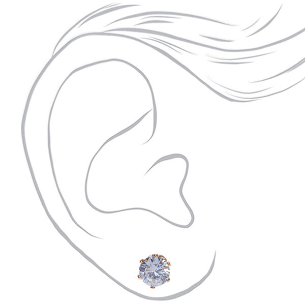 Claire's - cubic zirconia 7mm round stud earrings - 2