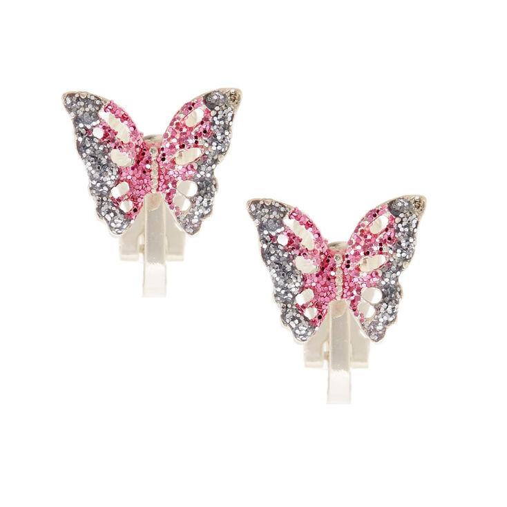 Silver Glitter Butterfly Clip On Earrings - Pink,