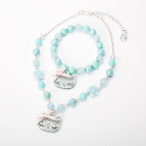 Claire's Club Beaded Cat Jewellery Set - Mint, 2 Pack,
