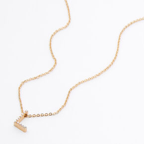 Gold Pearl Initial Chain Necklace - L,