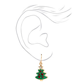 "Gold 1"" Christmas Tree Bell Drop Earrings,"