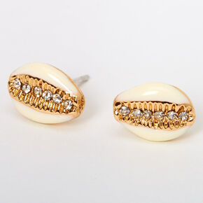 Gold Sterling Silver Cubic Zirconia Cowrie Shell Stud Earrings,