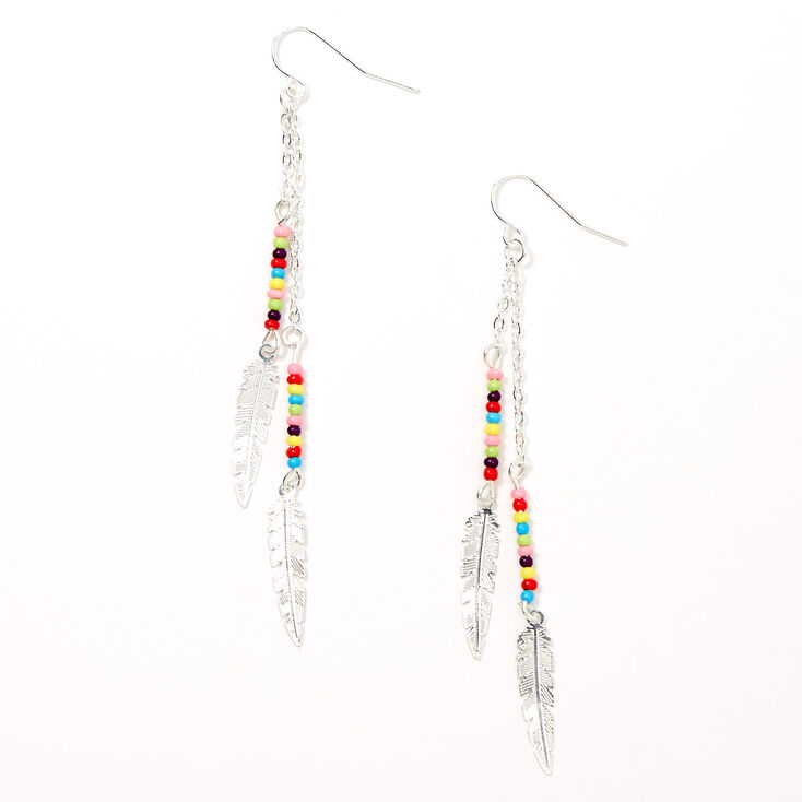 "Silver 2"" Rainbow Beaded Feather Drop Earrings,"