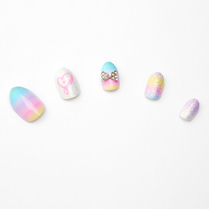 Jojo Siwa™ Stiletto Press On Faux Nail Set - Pastel Rainbow,