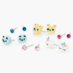 Pastel Glitter Critter Stud Earrings - 6 Pack,