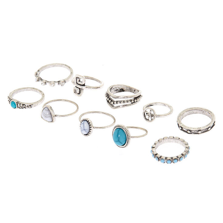 Silver Antique Rings Turquoise 8 Pack Claire S Us