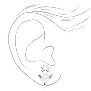 Clous d'oreilles à clip renne perle d'imitation couleur argentée,