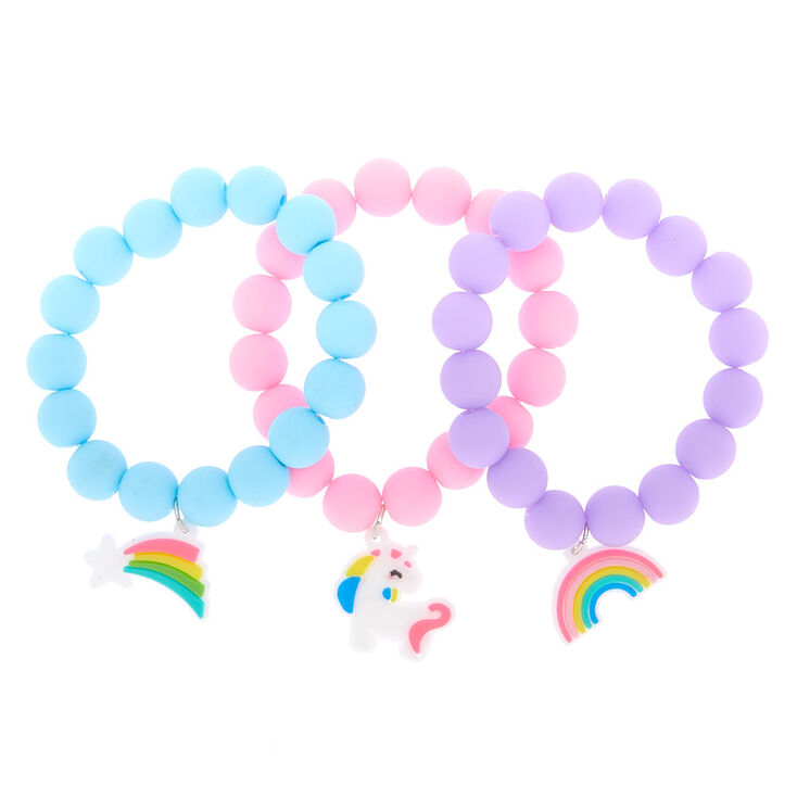 Claire's Club Rainbow Matte Beaded Stretch Bracelets - 3 Pack,
