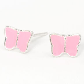 Silver Butterfly Stud Earrings - Pink,