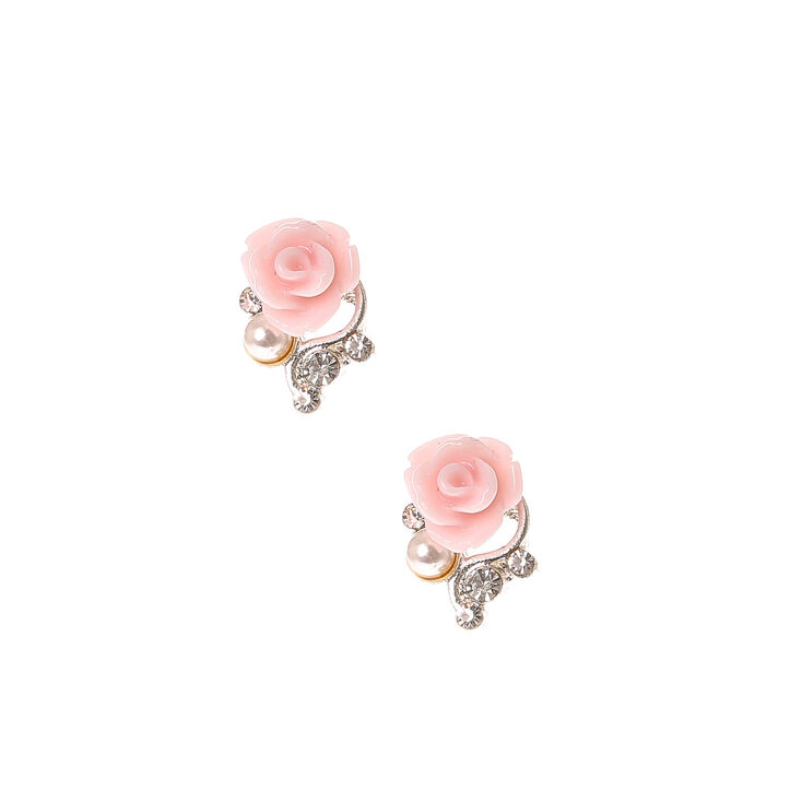 Pale Pink Rose Stud Earrings