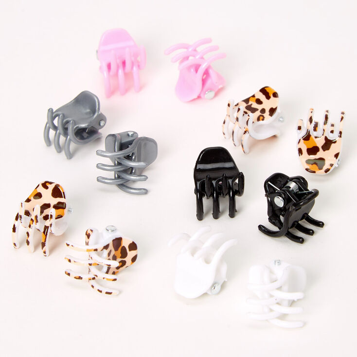 Claire's Club Leopard Mini Hair Claws - 12 Pack,