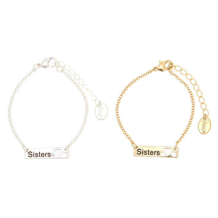 Mixed Metal Chain Sisters Bracelets - 2 Pack,