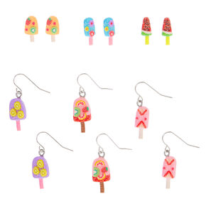 Silver Fruity Popsicle Mixed Earrings - 6 Pack,