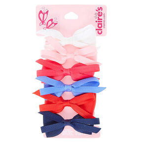 Claire's Club Large Fabric Bow Hair Clips - 6 Pack,