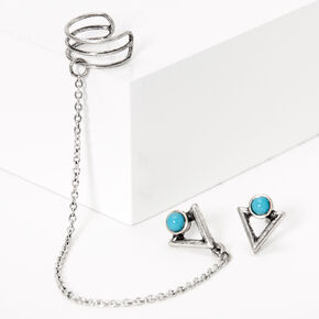 Silver Triangle Stone Ear Connector Earrings - Turquoise,