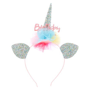 Claire's Club Birthday Girl Glitter Unicorn Headband,
