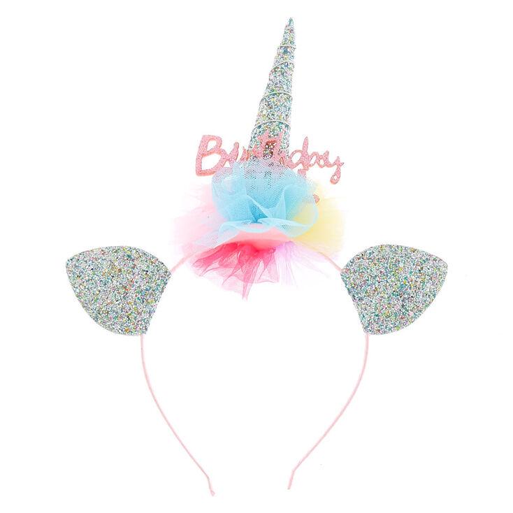 Claire's Club Birthday Girl Glitter Unicorn Headband,