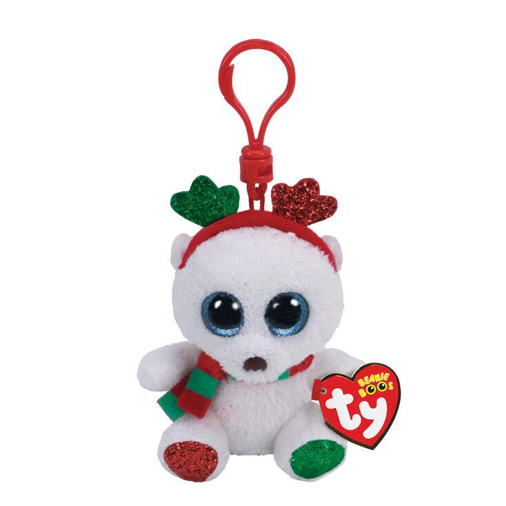 Ty Beanie Boo Frost the Christmas Bear Keyring Clip  b53eab04ee6