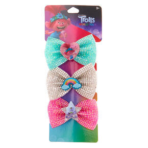 Trolls World Tour Glitter Bow Hair Clips – 3 Pack,