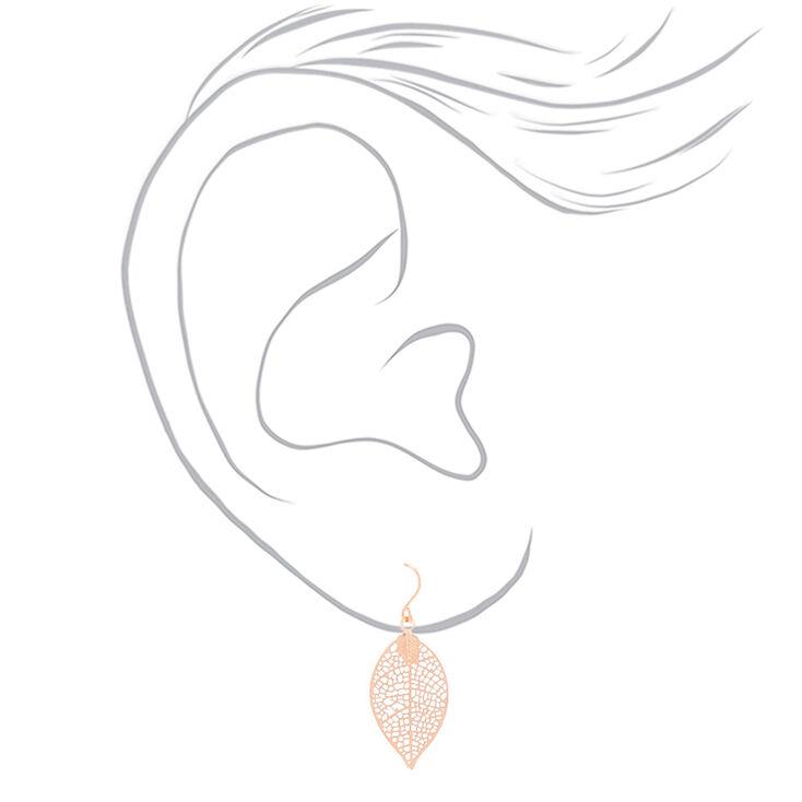 """Mixed Metal 1"""" Filigree Leaf Drop Earrings - 3 Pack,"""