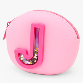 Shaker Initial Jelly Coin Purse - Pink, J,