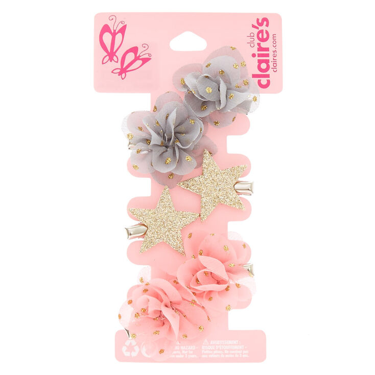 Claire S Club Chiffon Flower Hair Clips 6 Pack Claire S