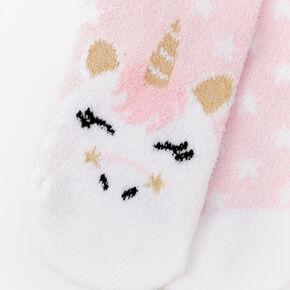 Claire's Club Unicorn Chenille Slipper Socks - Pink,