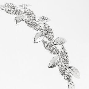 Serre-tête pavé de feuilles avec strass élégant couleur argentée,