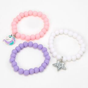 Claire's Club Unicorn Matte Beaded Stretch Bracelets - Lilac, 3 Pack,