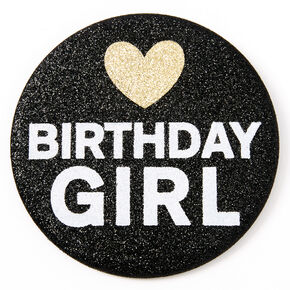 Birthday Girl Glitter Button - Black,