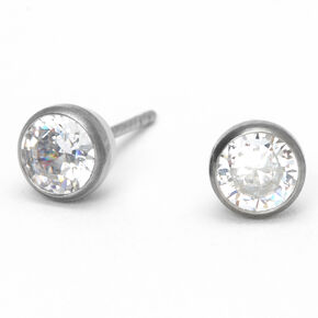 Silver Titanium Cubic Zirconia Round Bezel Stud Earrings - 5MM,