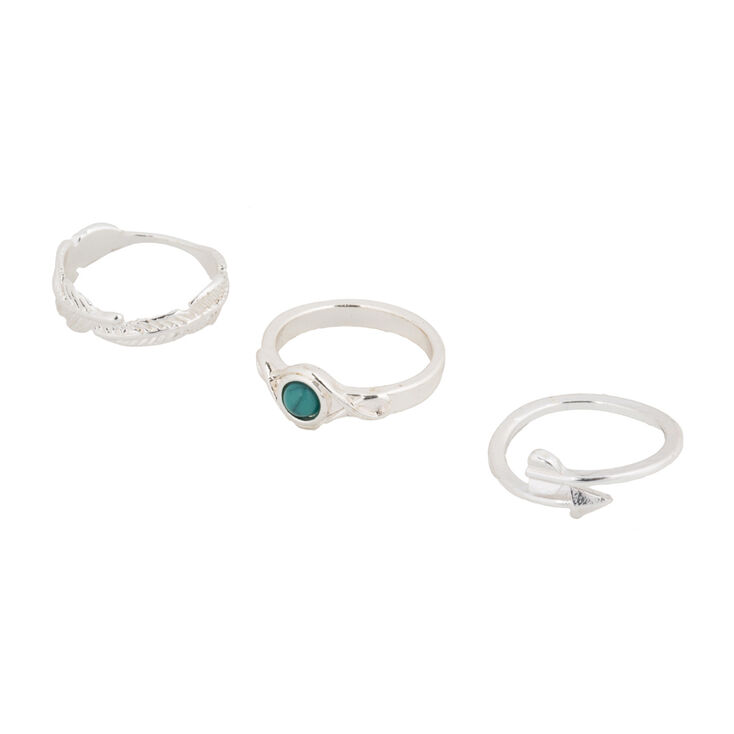 Silver Stone Arrow Midi Rings - Turquoise, 3 Pack,