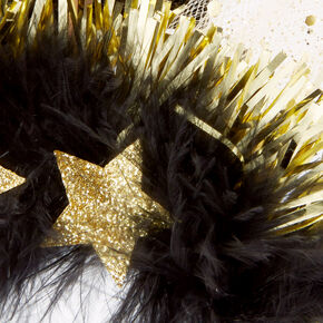 2021 New Year's Eve Tinsel & Feather Headband - 6 Pack,