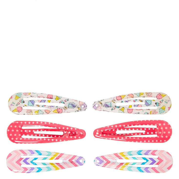 Claire's Club Bright Patterned Snap Hair Clips - 6 Pack,