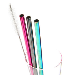 Mixed Metal Rainbow Stainless Steel Straws - 3 Pack,