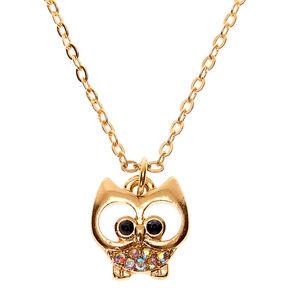 Gold Iridescent Stone Owl Pendant Necklace,