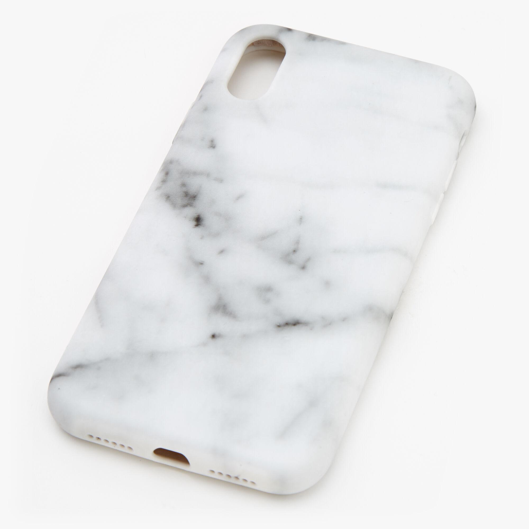 Coque de portable protectrice blanche effet marbré - Compatible avec iPhone XR