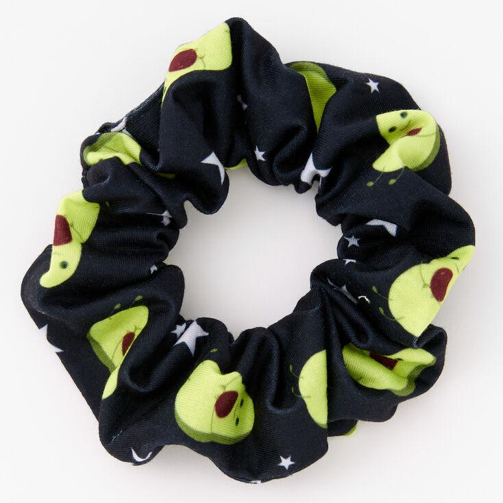 Avocado Print Hair Scrunchie - Black,